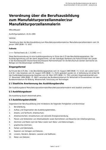Verordnung über die Berufsausbildung zum ... - Gesetze im Internet