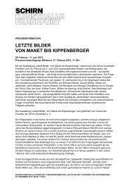 Presseinformation kurz - Schirn Kunsthalle Frankfurt