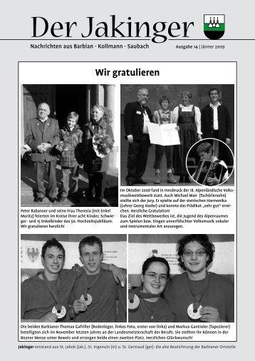 Der Jakinger 14 / Jänner 2009 (1,51 MB - Gemeinde Barbian