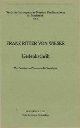 FRANZ RITTER VON WIESER Gedenkschrift - Oberösterreichisches ...