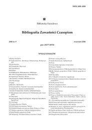 Bibliografia Zawartości Czasopism - Biblioteka Narodowa