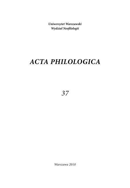 Acta Philologica 37 Acta Philologica Uniwersytet Warszawski