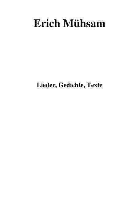 Download Erich Mühsam Lieder Gedichte Texte Wf Bootboy