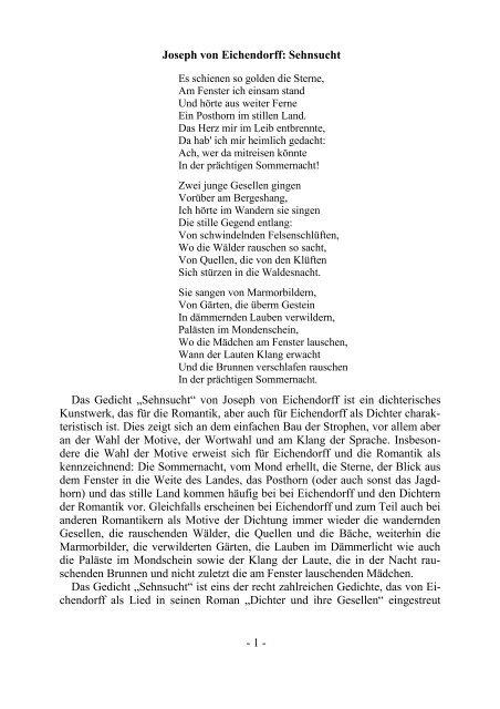 Joseph Von Eichendorff Sehnsucht Das Gedicht Mpg Trier