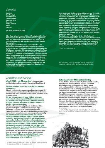 Editorial Schaffen und Wirken - Kantonsschule im Lee Winterthur