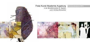 Katalog Sommerakademie 2013 - Freie Kunst Akademie Augsburg