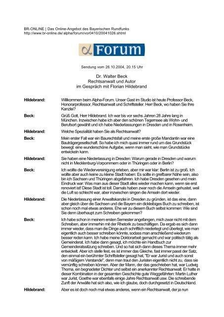 Dr. Walter Beck Rechtsanwalt und Autor im Gespräch mit Florian ...