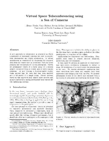 Virtual Space Teleconferencing using a Sea of Cameras - CiteSeerX