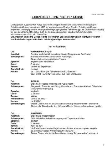 Liste empfohlener Tropenkurse - Ärzte ohne Grenzen