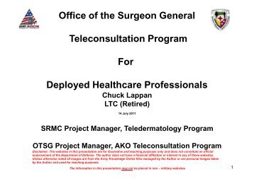 Office of the Surgeon General Teleconsultation Program ... - U.S. Army