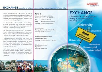 Exchange Flyer (280 KB) - Johannes Gutenberg-Universität Mainz