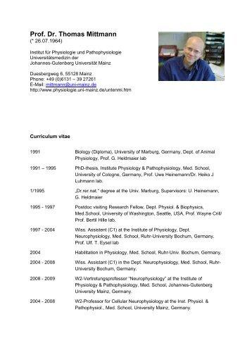 Prof. Dr. Thomas Mittmann - Johannes Gutenberg-Universität Mainz