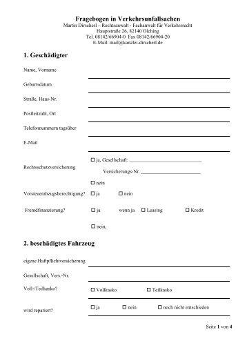 Fragebogen in Verkehrsunfallsachen - Kanzlei Dirscherl
