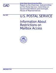 GGD-97-85 U.S. Postal Service: Information About Restrictions on ...