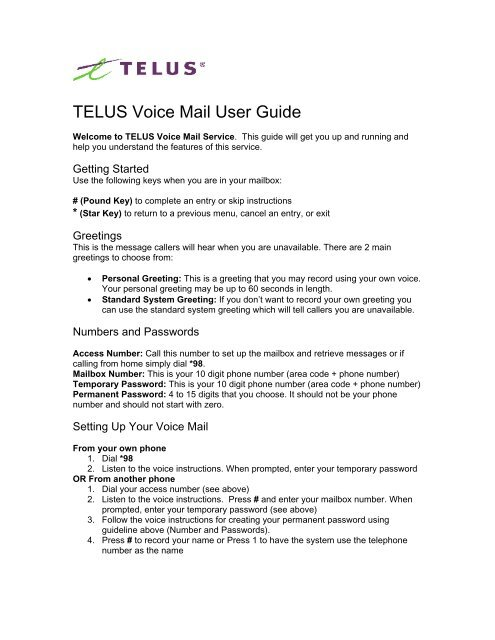 TELUS Voice Mail User Guide