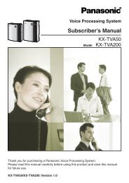 Subscriber's Manual - Operating Manuals for Panasonic Products ...
