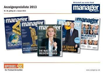 Preisliste 2013 manager magazin - Spiegel-QC