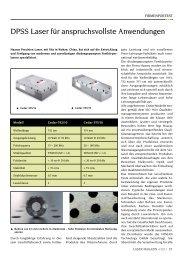 DpSS Laser für anspruchsvollste Anwendungen - Laser Magazin