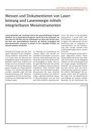 Messen und Dokumentieren von Laser- leistung ... - Laser Magazin
