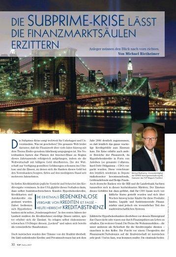 Top Magazin: Die Subprime-Krise läßt die Finanzmärkte - ceros