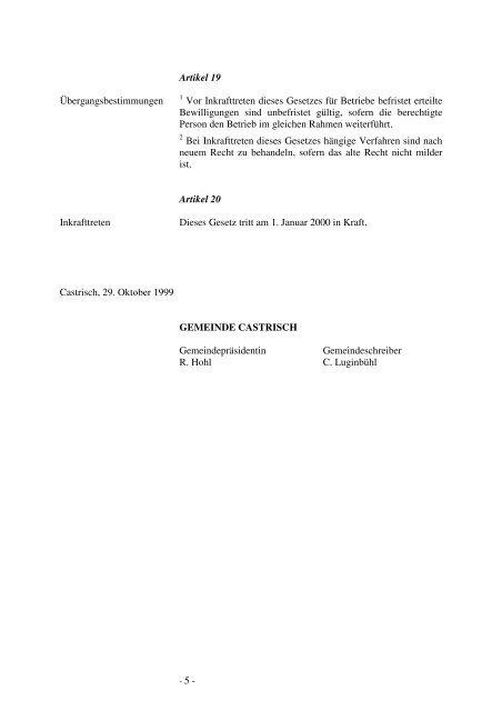 Gemeinde Castrisch Gastwirtschaftsgesetz