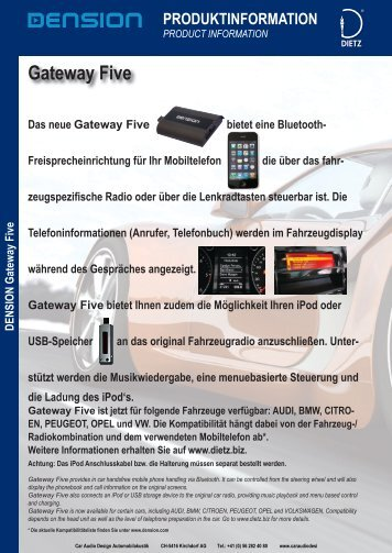 Gateway Five - Car Audio Design Automobilakustik Schweiz