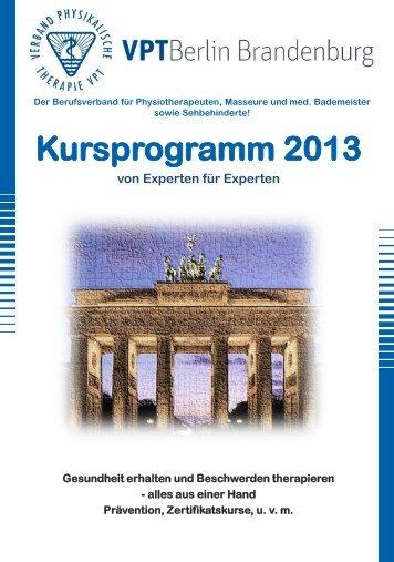 Kursprogramm 2013 - VPT Verband Physikalische Therapie