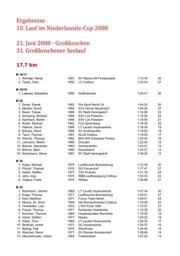31. Großkoschener Seelauf - Niederlausitzcup - Niederlausitz-Cup