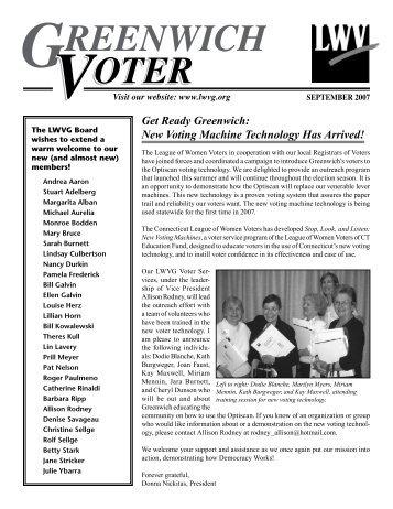 GREENWICH VOTER VOTER VOTER - League of Women Voters of ...
