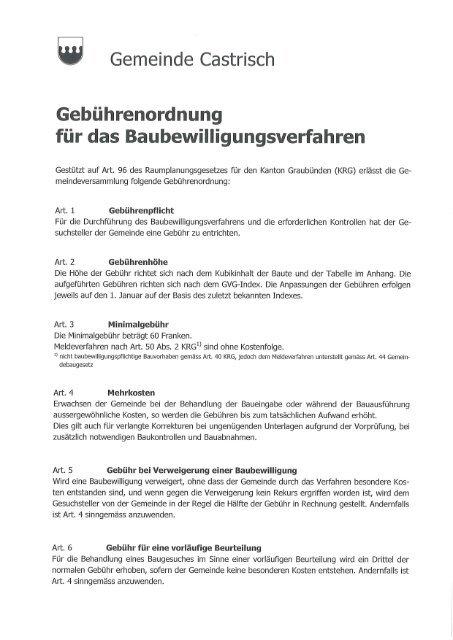 Regulativ da taxas pertuccont lubientschas da baghegiar - Castrisch