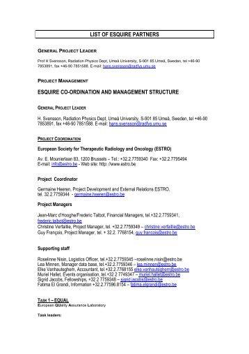 LIST OF ESQUIRE PARTNERS ESQUIRE CO-ORDINATION ... - Estro