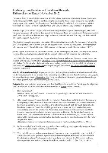 essay wettbewerb nrw Essay-themen der letzten jahre – bildungsportal nrw (2013) themen des 14 mal der essay-wettbewerb im unterrichtsgegenstand philosophie statt.
