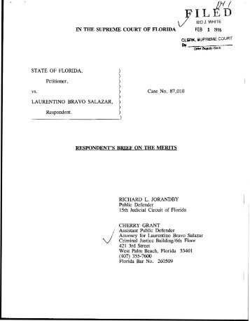 Respondent's Brief on the Merits - Florida State University College of ...