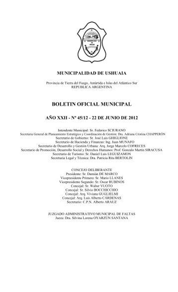 BOLETIN OFICIAL MUNICIPAL - Municipalidad de Ushuaia