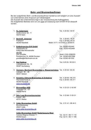 Bohr- und Brunnenbaufirmen - Kreis Recklinghausen