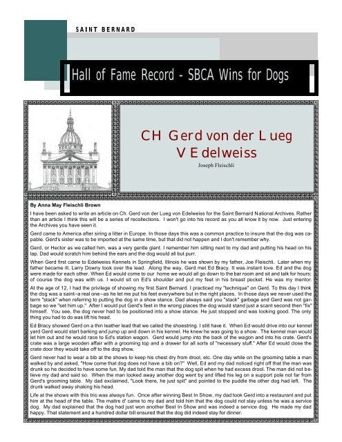 Hall of Fame Record - SBCA Wins for Dogs - National Breed Clubs