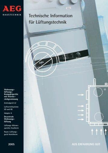 Technische Information für Lüftungstechnik - AEG Haustechnik