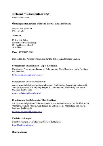 Referat Studienzulassung - Studien- und Lehrwesen - Universität ...