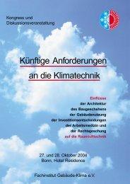 Künftige Anforderungen an die Klimatechnik - Fachverband ...