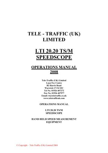 LTI 20.20 TS/M SPEEDSCOPE - Tele-Traffic