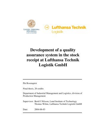 Development of a quality assurance system in the - Production ...