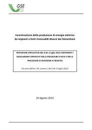 Incentivazione della produzione di energia elettrica da ... - Gse