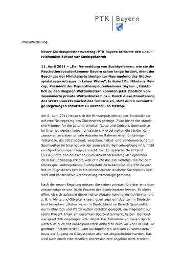 Neuer Glücksspielstaatsvertrag - PTK Bayern