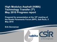 High Modulus Asphalt (HiMA) Technology Transfer (T2) May ... - CSIR
