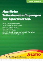 Amtliche Teilnahmebedingungen für Sportwetten. - LOTTO Bayern