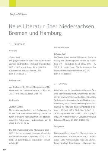 Neue Literatur über Niedersachsen, Bremen und Hamburg