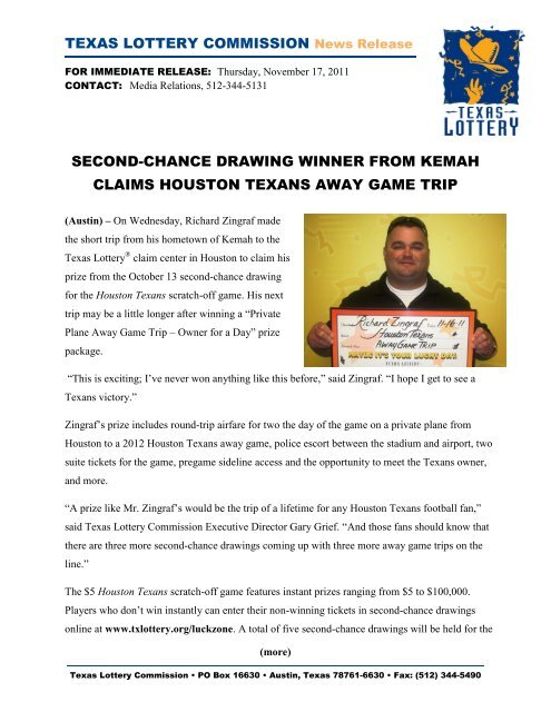 second-chance drawing winner from kemah claims     - Texas