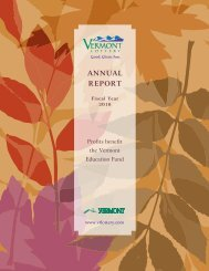 Vermont Lottery Commission Annual Report for Fiscal Year