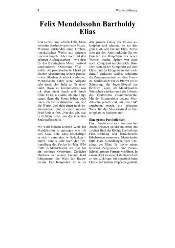 Felix Mendelssohn Bartholdy Elias - Berner Kammerchor