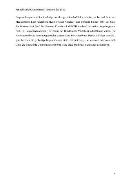 Forschungsbericht Crossmedia 2012 - Drehscheibe